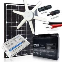 Komplekts - vēja turbīna 90W, akumulators 70Ah, saules modulis 170W MAXX