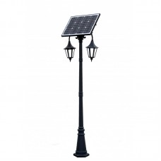 Dārza saules LED gaismeklis ar saules bateriju 30W 14Ah RETRO II - 2,60M